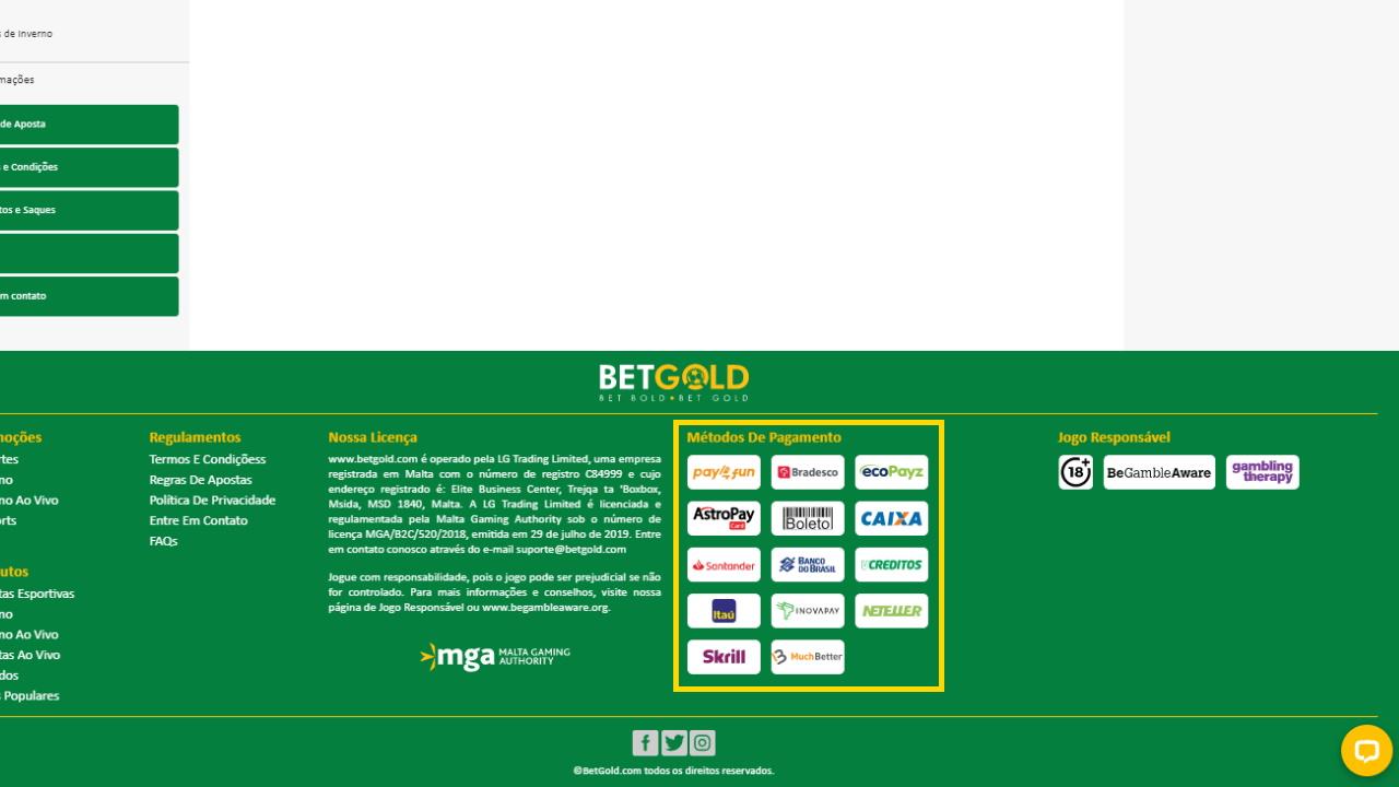 Betgold pagamentos