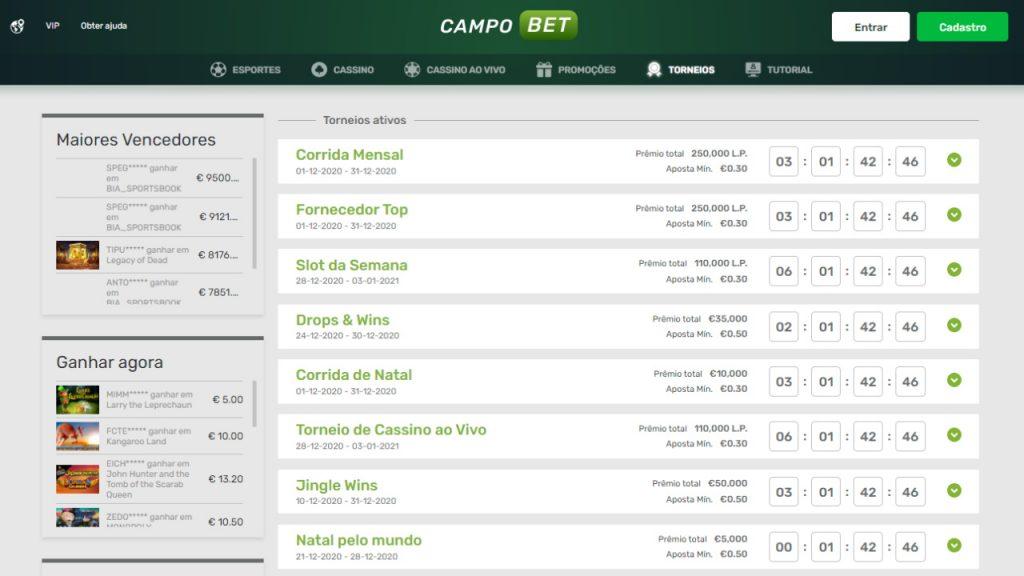 Campobet torneios